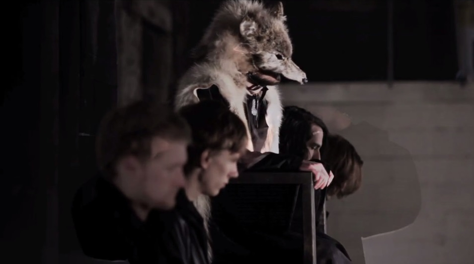 "Still from the official music video for Outline in Color's ""Jury of Wolves"" (Garrett Danz, director, 2012) featuring one of my full hide wolf headdresses"